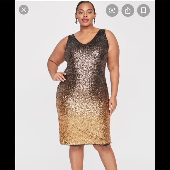 RACHEL Rachel Roy Dresses & Skirts - Rachel Roy Plus, Sequined Dress,multi gold,NWT